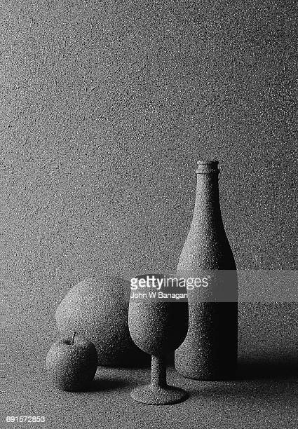 Surreal Wine and fruit still life
