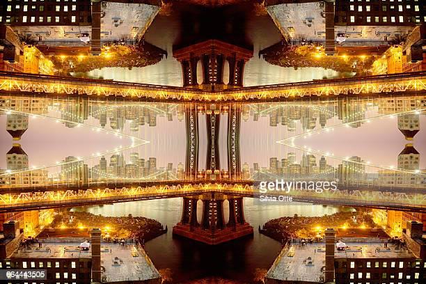 surrealist view of brooklyn bridge - international landmark stock pictures, royalty-free photos & images