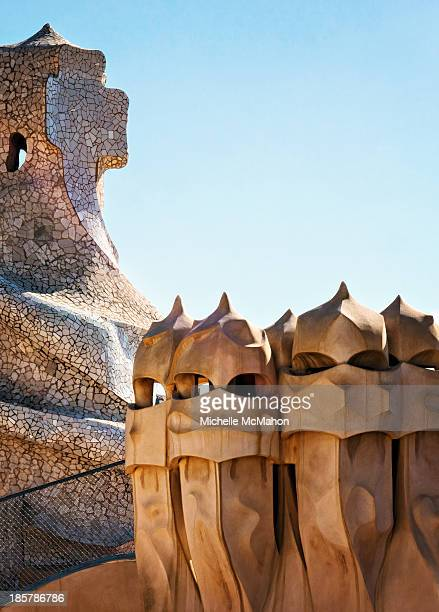 CONTENT] Surrealistic chimneys on the roof terrace of Casa Milà commonly known as La Pedrera It is the largest civil building designed by Antoni...