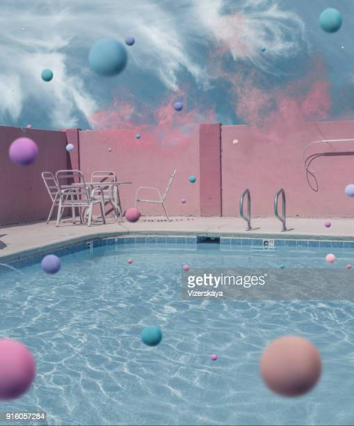 surrealistic waterpool action - disintegration stock photos and pictures