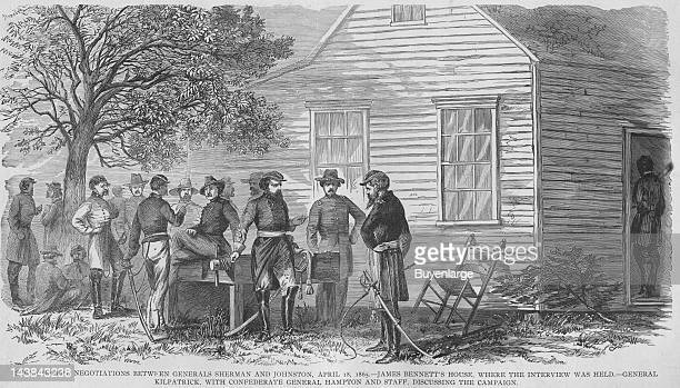 Surrender Negotiations between Sherman Johnston at Bennett's House Durham North Carolina April 18 1865 From an issue of Frank Leslie's Illustrated...