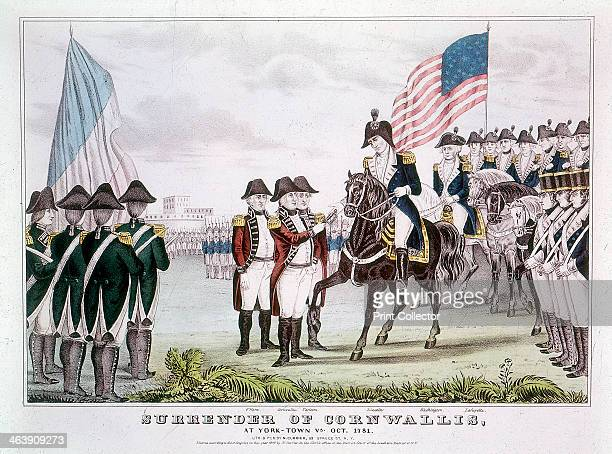 'Surrender of Cornwallis' Yorktown Virginia 1781 British commander General Charles Cornwallis surrendering to the colonists after the Battle of...
