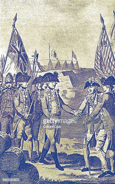 Surrender of Lord Cornwallis at Yorktown British General Charles Cornwallis surrenders to combined French and American forces at the Siege of...