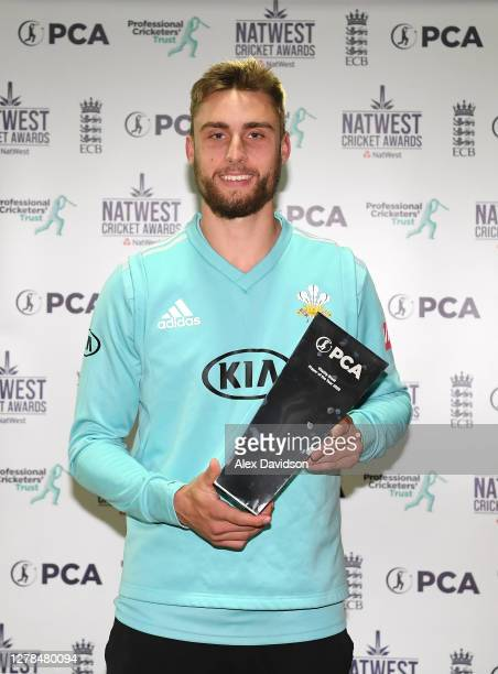 Surrey all-rounder Will Jacks with his trophy for winning the Vitality Blast Player of the Year 2020 as part of the NatWest Cricket Awards after the...