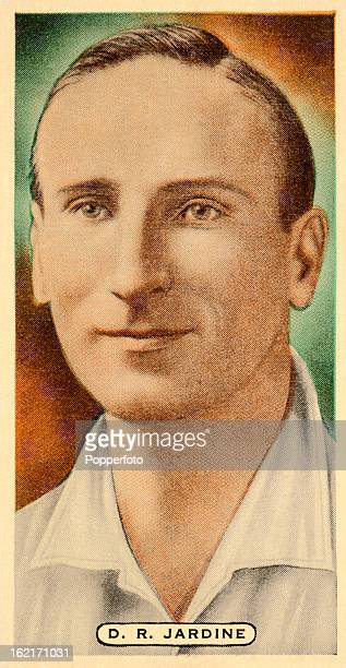 Surrey and England cricketer Douglas Jardine featured on a vintage cigarette card published circa 1935