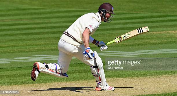 Surrey batsman Kevin Pietersen hits out during day four of the LV County Championships Division Two match between Glamorgan and Surrey at SWALEC...
