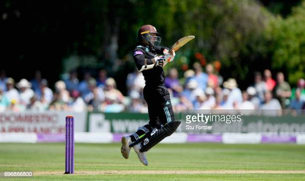 Surrey batsman Kumar Sangakkara hits out during the Royal London OneDay Cup Semi Final between Worcestershire and Surrey at New Road on June 17 2017...