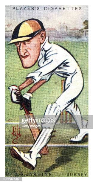Surrey batsman Mr D R Jardine illustrated on a Player's Cricket Tobacco Cigarette Card from a series circa 1926
