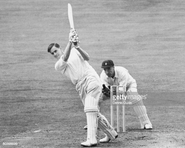 Surrey batsman Peter May in action against Derby at the Oval 21st August 1952