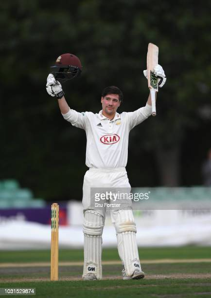 Surrey batsman Rory Burns celebrates his century during day two of the Specsavers County Championship Division One match between Worcestershire and...