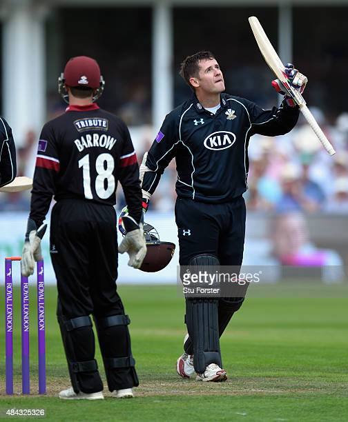 Surrey batsman Steven Davies celebrates after reaching his century during the Royal London OneDay Cup match between Somerset and Surrey at The County...