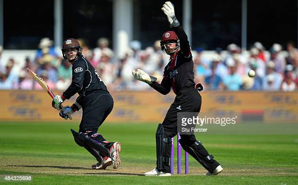 Surrey batsman Steven Davies picks up some runs despite the attentions of Alex Barrow during the Royal London OneDay Cup match between Somerset and...