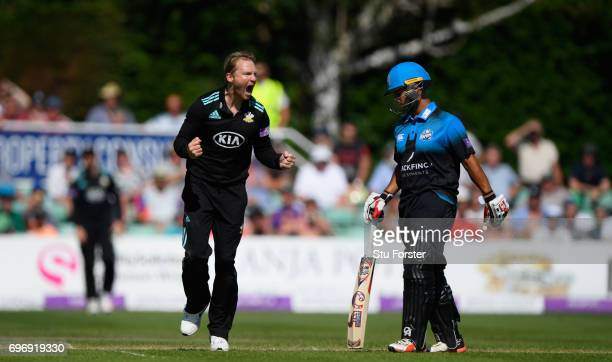 Surrey bowler Gareth Batty celebrates after dismissing John Hastings during the Royal London OneDay Cup Semi Final between Worcestershire and Surrey...