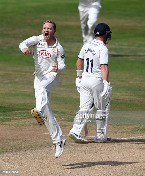 Surrey bowler Gareth Batty celebrates after dismissing Warwickshire batsman Ian Bell during day 4 of the Specsavers Division One county championship...