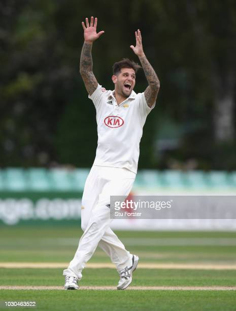 Surrey bowler Jade Dernbach appeals during day one of the Specsavers County Championship Division One match between Worcestershire and Surrey at New...