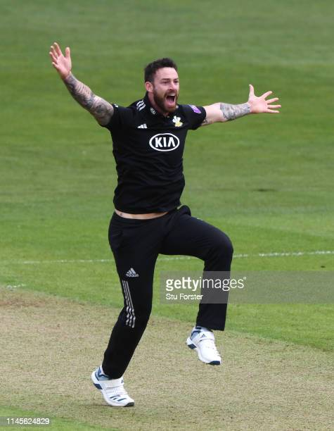 Surrey bowler Jordan Clark appeals for a decision during the Royal London One Day Cup match between Glamorgan and Surrey at Sophia Gardens on April...