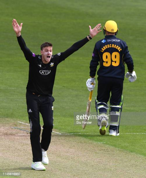 Surrey bowler Morne Morkel appeals with success for an lbw decision against Glamorgan batsman Labuschagne during the Royal London One Day Cup match...
