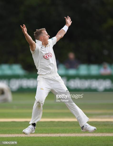 Surrey bowler Tom Curran appeals during day one of the Specsavers County Championship Division One match between Worcestershire and Surrey at New...