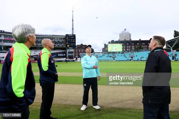 Surrey Captain Gareth Batty tosses the coin ahead of the start of the Vitality T20 Blast match between Surrey and Essex Eagles at The Kia Oval on...