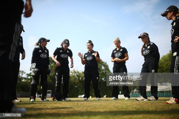 Surrey Captain Hannah Jones gives a team talk ahead of the start of play in the London Championship match between Surrey and Middlesex at Guildford...