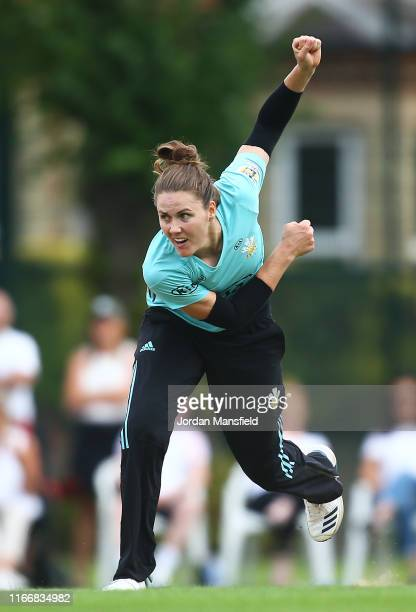 Surrey Captain Nat Sciver bowls during the Kia Super League match between Surrey Stars and Lancashire Thunder on August 08, 2019 in Guildford,...