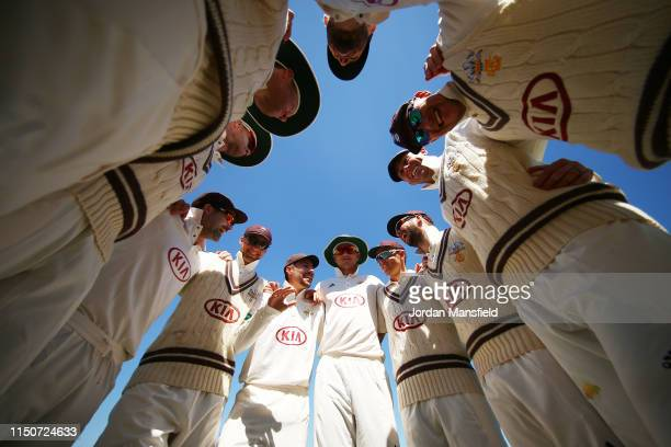 Surrey Captain Rory Burns gives a team talk ahead of the start of the innings during day two of the Specsavers County Championship Division One match...
