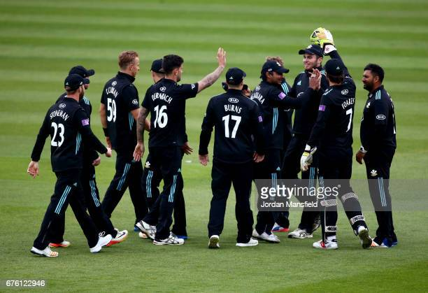 Surrey celebrate dismissing Neil Wagner of Essex during the Royal London OneDay Cup match between Surrey and Essex at The Kia Oval on May 2 2017 in...