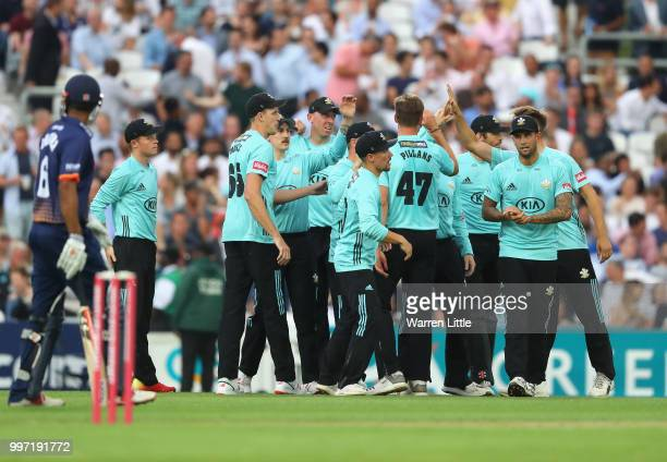 Surrey celebrates the wicket of Ada Wheater of Essex Eagles during the Vitality Blast match between Surrey and Essex Eagles at The Kia Oval on July...
