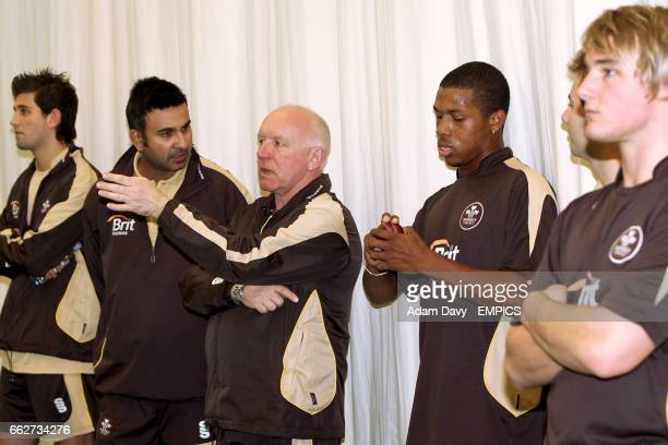 Surrey County Cricket coach Alan Butcher chats with Jade Dernbach Nadeem Shahid Chris Jordan and Laurie Evans at the Guildford Cricket Show