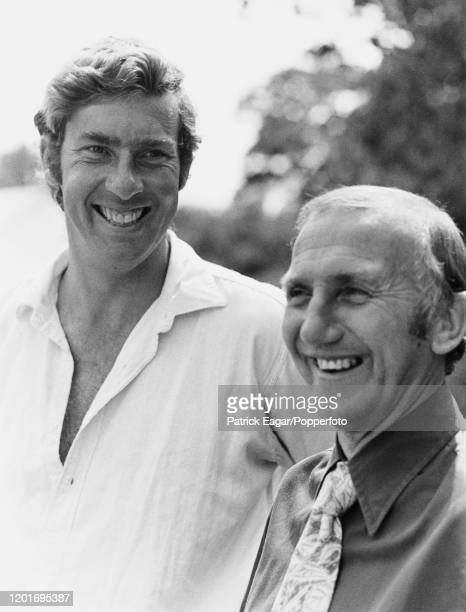 Surrey cricket team captain Roger Knight pictured with team manager Micky Stewart at the start of the 1979 County cricket season, circa May 1979.