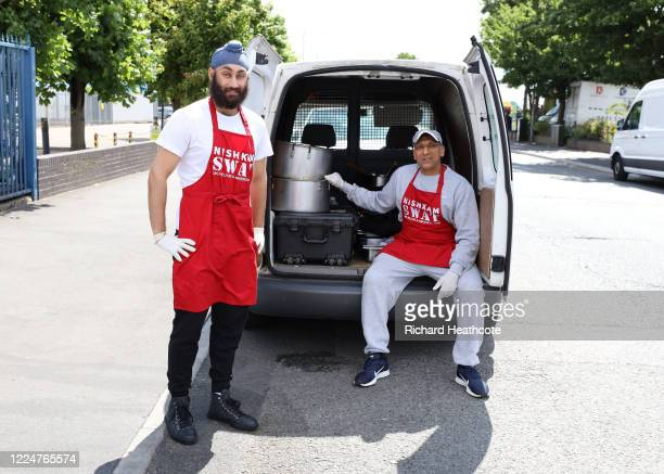 Surrey Cricketer Amar Virdi making food with chef Jav Sahota to be distributed to homeless and those in need at the NishkamSWAT kitchen on May 13...