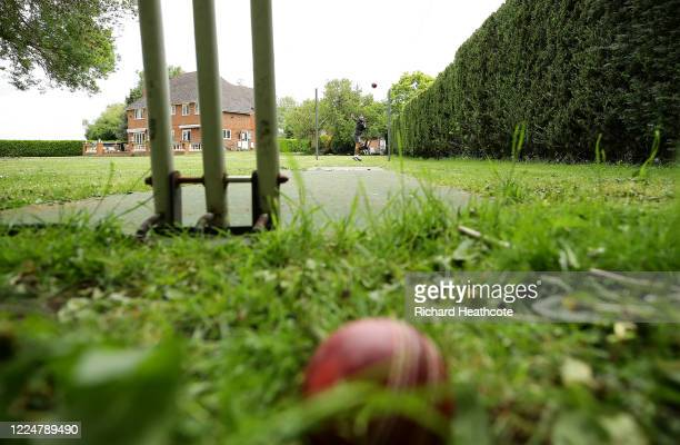 Surrey Cricketer Amar Virdi training at home on May 13, 2020 in Wraysbury, England. Virdi also volunteers for a 100% voluntary West London based...