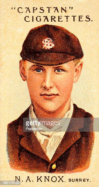 Surrey cricketer Neville Knox, featured on a vintage cigarette card published in 1903.