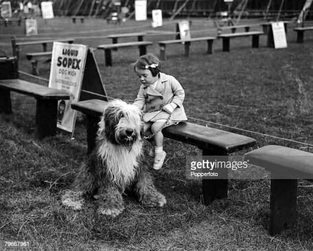 Surrey England 7th July 1931 Miss Pat Hitchcock daughter of famous film director Alfred Hitchcock with her Old English sheepdog at the Richmond Dog...