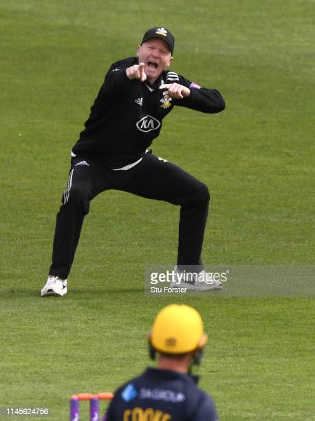 Surrey fielder Gareth Batty enthusiastically appeals against Glamorgan batsman Chris Cooke during the Royal London One Day Cup match between...