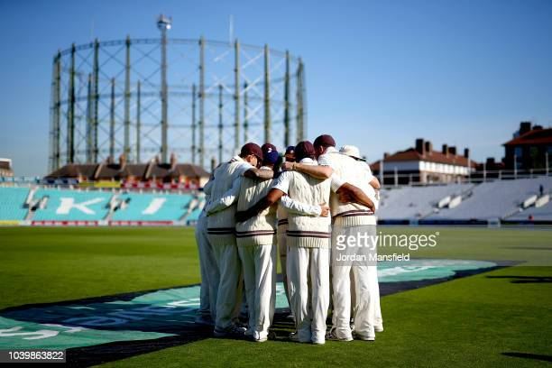 Surrey huddle prior to the start of play on day two of the Specsavers County Championship Division One match between Surrey and Essex at The Kia Oval...