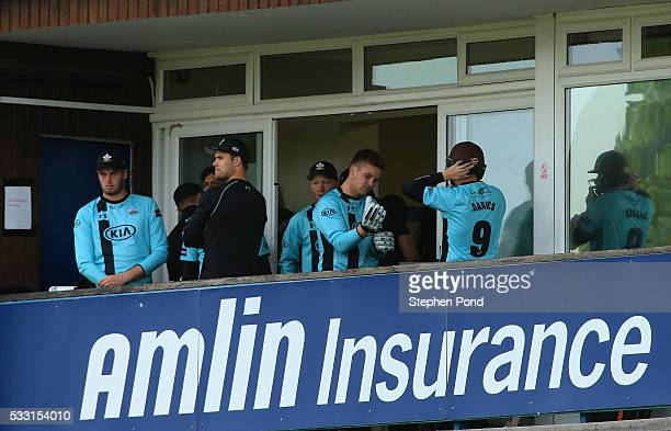 Surrey opening batsmen Steven Davies and Jason Roy prepare to start during the NatWest T20 Blast match between Essex and Surrey at the Ford County...