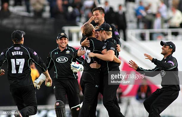 Surrey players celebrate winning the Royal London One Day Cup semifinal match between Surrey and Nottinghamshire at the Kia Oval Cricket Ground on...