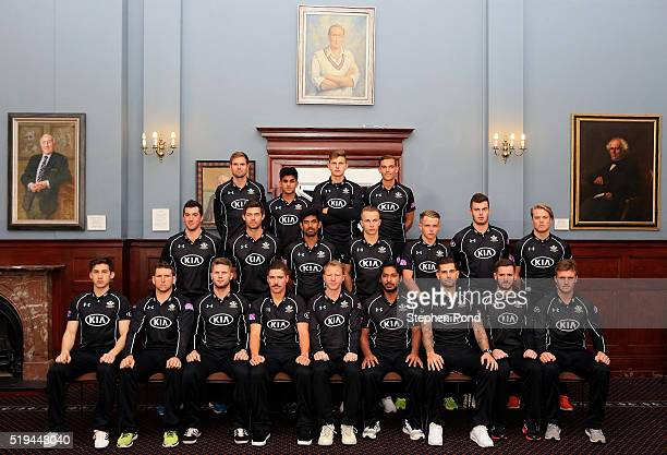 Surrey players pose for a team photo during the Surrey County Cricket Club media day at The Kia Oval on April 6 2016 in London England