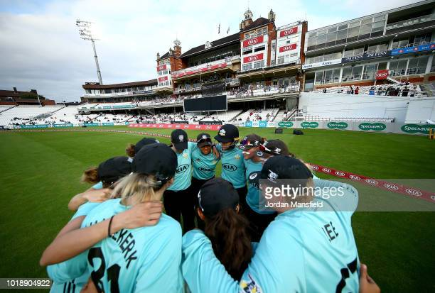 Surrey Stars huddle prior to opening the fielding during the Women's Kia Super League match between Surrey Stars and Western Storm at The Kia Oval on...