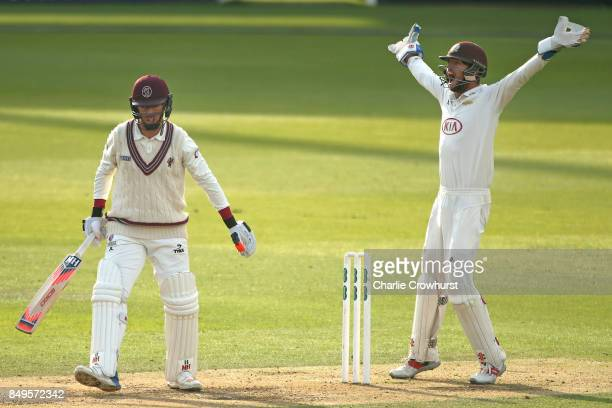 Surrey wicket keeper Ben Foakes appeals for lbw against Jack Leach of Somerset during day one of the Specsavers County Championship Division One...