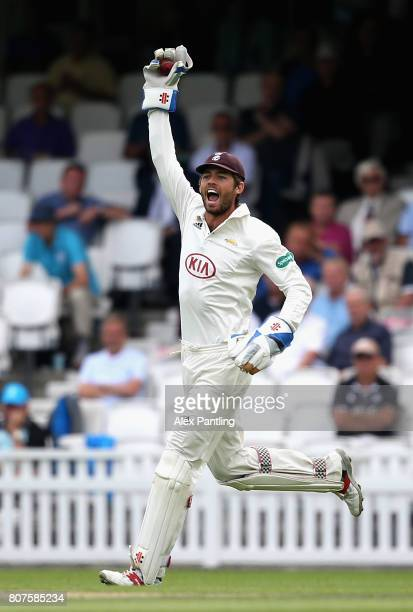 Surrey wicket keeper Ben Foakes appeals to the umpire during day two of the Specsavers County Championship Division One match between Surrey and...