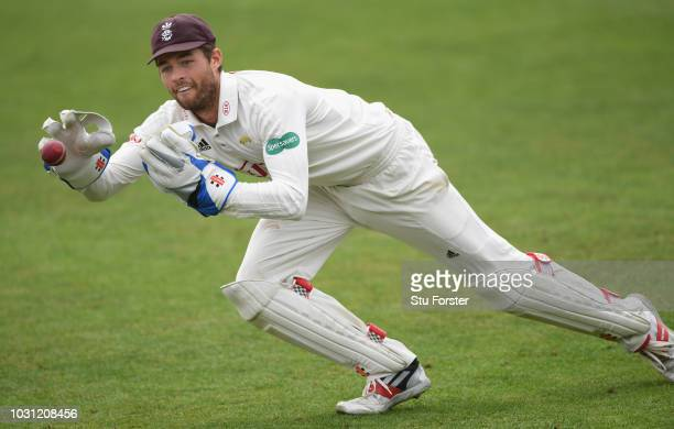 Surrey wicketkeeper Ben Foakes in action during day two of the Specsavers County Championship Division One match between Worcestershire and Surrey at...