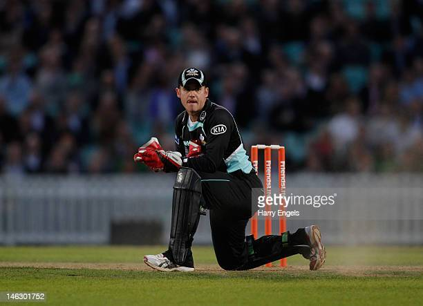 Surrey wicketkeeper Steven Davies looks on during the Friends Life T20 match between Surrey and Essex at the KIA Oval on June 13 2012 in London...