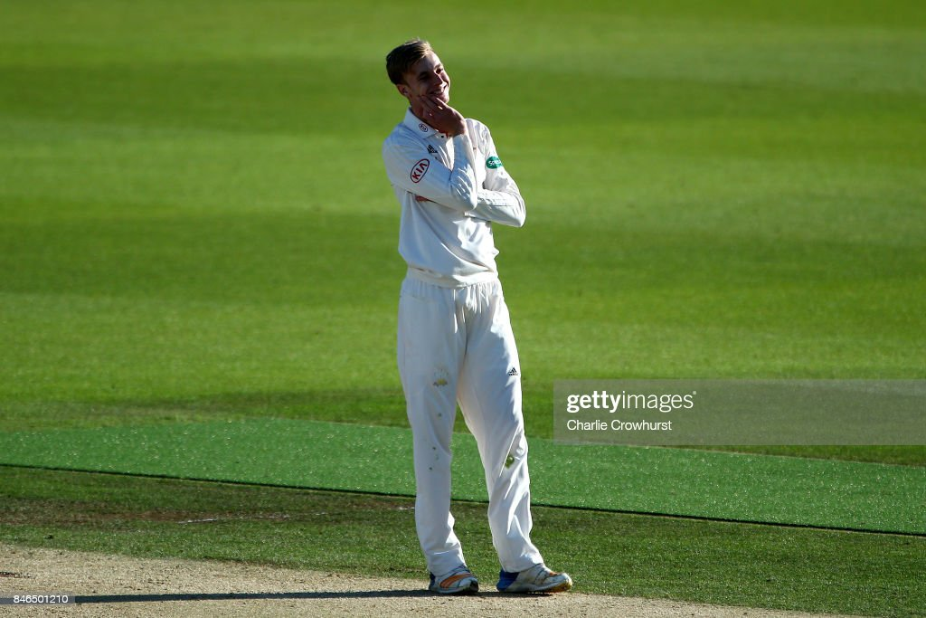 Surrey's Freddie van den Bergh looks on frustrated during day two of the Specsavers County Championship Division One match between Surrey and Yorkshire at The Kia Oval on September 13, 2017 in London, England.