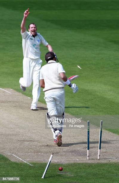 Surrey's Jacques Rudolph is bowled by Worcestershire's Alan Richardson for 68 during the LV= County Championship Division One match at New Road...