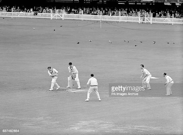 Surrey's Jim Laker is bowled for a duck