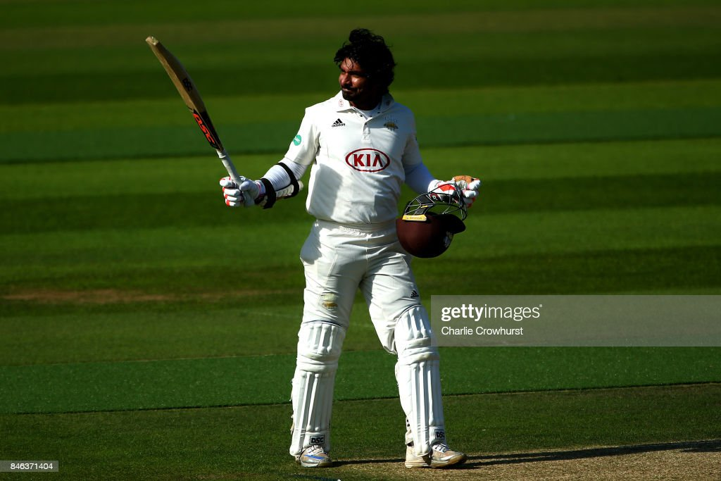 Surrey's Kumar Sangakkara celebrates his century during day two of the Specsavers County Championship Division One match between Surrey and Yorkshire at The Kia Oval on September 13, 2017 in London, England.