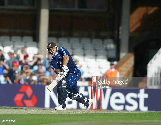 Surrey's Mark Ramprakash in asction during the Twenty20 Cup match between Surrey Lions and Hampshire Hawks at The Brit Oval on July 3, 2004 in London.