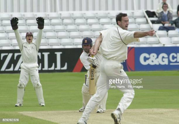 Surrey's Martin Bicknell right and wicket keeper Jon Batty appeal for LBW against Essex batsman Darren Robinson not out in the Frizell County...